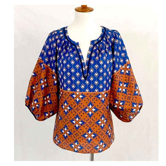 Collective Concepts Pattern Boho Peasant Blouse